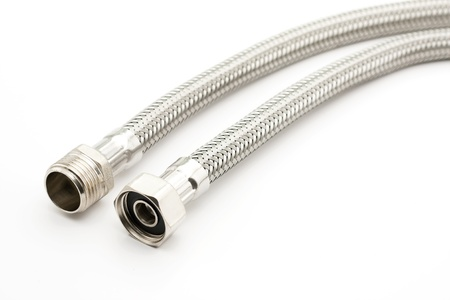 Braided stainless steel water hose on white background