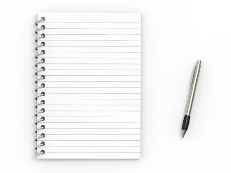 Notebook  and ballpoint pen on white background photo