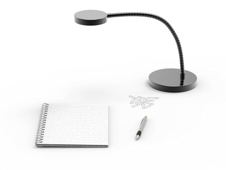 ballpoint: Notebook , ballpoint pen and paperclips on office desk