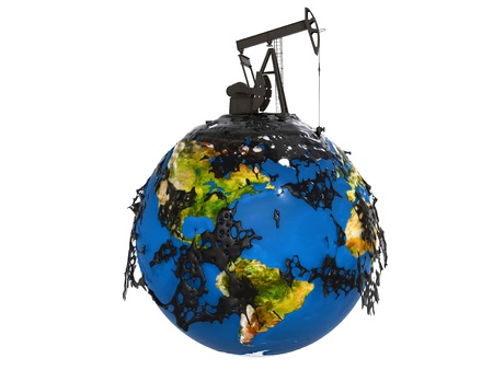 Pump jack and oil spill over planet earth isolated on white background photo