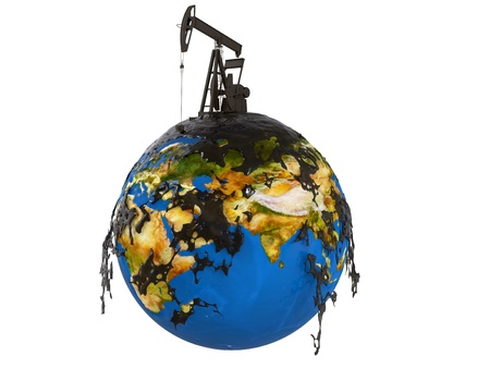 earth pollution: Pump jack and oil spill over planet earth isolated on white background Stock Photo