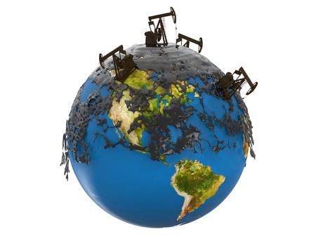 recursos naturales: Tomas de la bomba y derrame de petróleo sobre el planeta tierra aislado en el fondo blanco