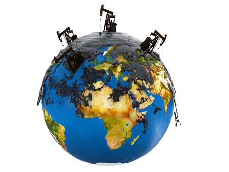 Pump jacks and oil spill over planet earth isolated on white background photo