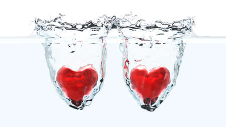 falling water: Two red hearts falling into water