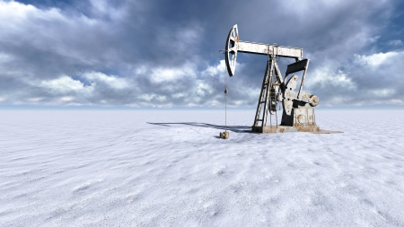 Oil field pump jacks at  snow and clouds in background