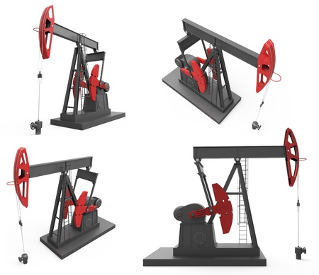 derrick: Pump jacks from four different angles isolated on white background Stock Photo