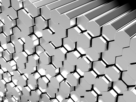 stainless steel: Shiny hexagon metal bars abstract background Stock Photo