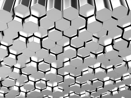 steel bar: Shiny hexagon metal bars abstract background Stock Photo