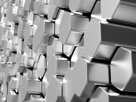 Shiny hexagon metal bars abstract background photo
