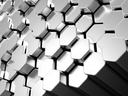 hexagons: Shiny hexagon metal bars abstract background Stock Photo