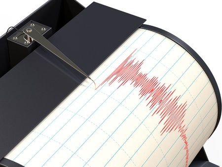 quake: Seismograph instrument recording ground motion during earthquake