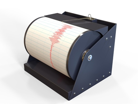 Seismograph instrument recording ground motion during earthquake photo