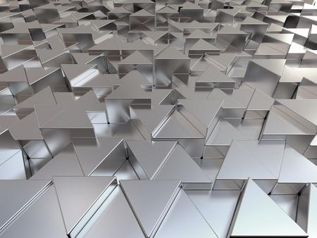 steel bar: Shiny triangular metal bars abstract background Stock Photo