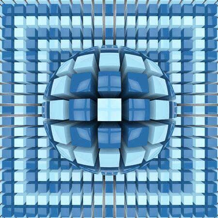 op art: Op art two colors sphere pattern