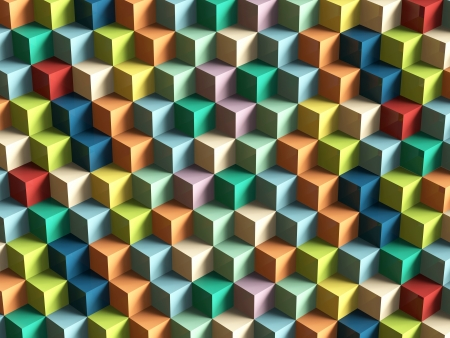 three dimensional shape: Op Art Cubes Pattern 3D rendering
