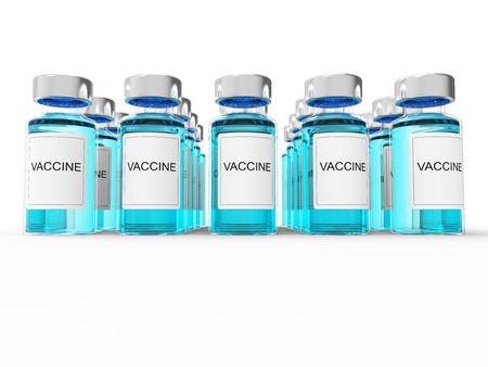 immunization: Blue vaccine  bottles on white background