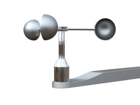 anemometer: Anemometer, wind speed  measuring device isolated on white