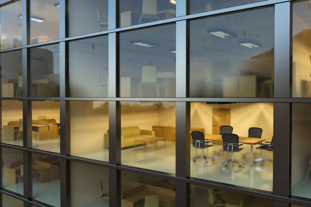 Inside modern office building at night Stock Photo - 25965789