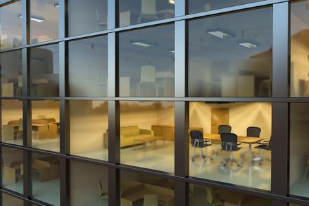 Inside modern office building at night