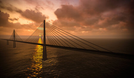 suspension bridge: 3d rendering of modern suspension bridge on sunset