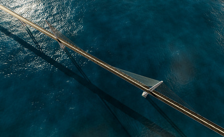suspension bridge: 3d rendering of modern suspension bridge on blue ocean top view Stock Photo