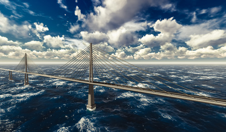 suspension bridge: 3d rendering of modern suspension bridge on stormy ocean