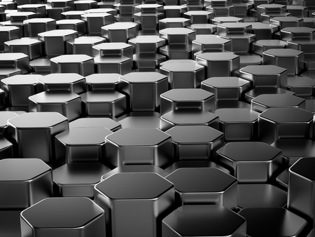 hexagonal pattern: Shiny hexagon metal bars abstract background Stock Photo