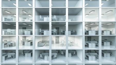 Inside white modern office building   Stock Photo