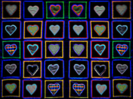Colorful hearts on black background illustration Reklamní fotografie