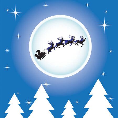 Santa Claus and reindeers Illustration