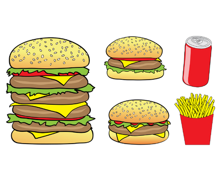 Burgers, Chips and a Can Vector