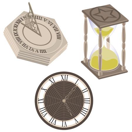Clock, Sundial, Hourglass Stock Vector - 2314407