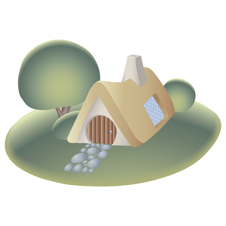 a cottage on the hill Stock Vector - 2511924