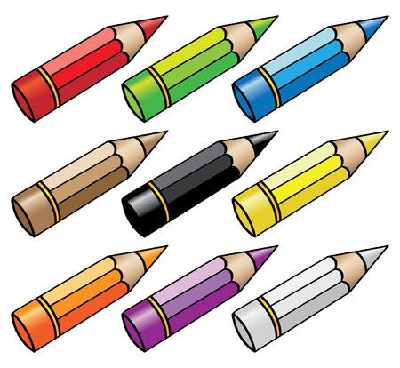 9 color pencils Vector