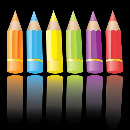 6 colour pencils Vector
