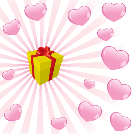 giveaway: a gift box and hearts
