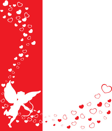 eros: a valentine background with hearts and cupid