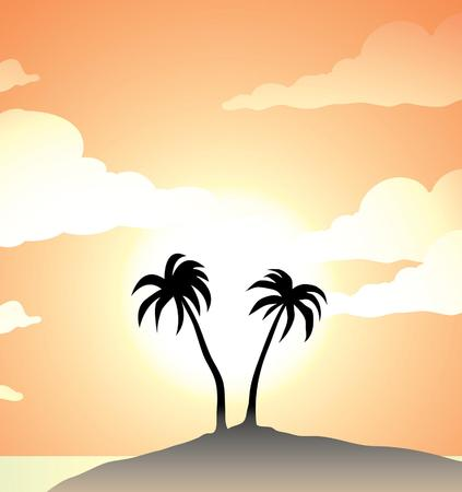 2 palm trees on and island, during sunset Vector