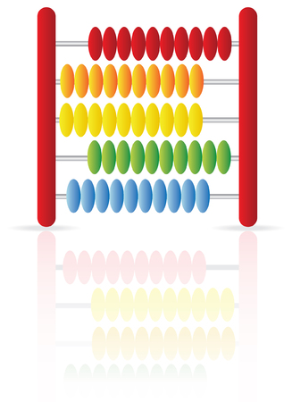 sums: an abacus icon isolated on white, with reflection