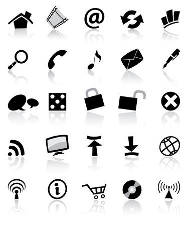 opfrissen: black & white web en de computer iconen set geïsoleerd Stock Illustratie
