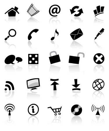 black & white web and computer icons set isolated
