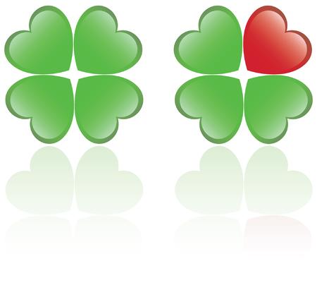 Four leaf clover and a heart shape Vector
