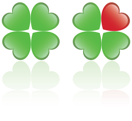 four objects: Four leaf clover and a heart shape