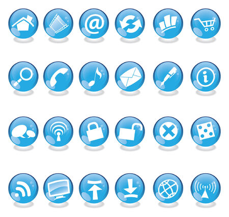 Blue web and computer icons set isolated Stock Vector - 2694776