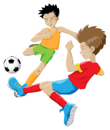 two kids playing football  Vector