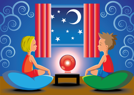 the reader: fortune teller kids having a spiritualism seance