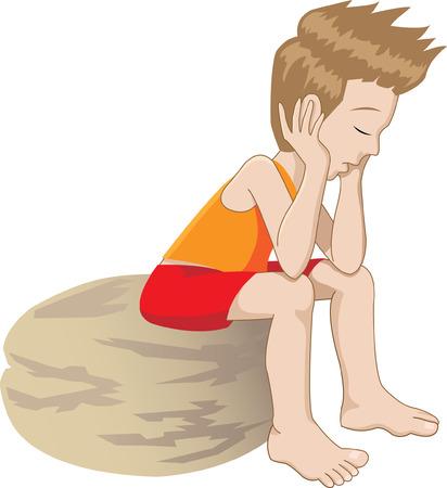 Caricatura de un niño solitario y aburrido pensar  Ilustración de vector