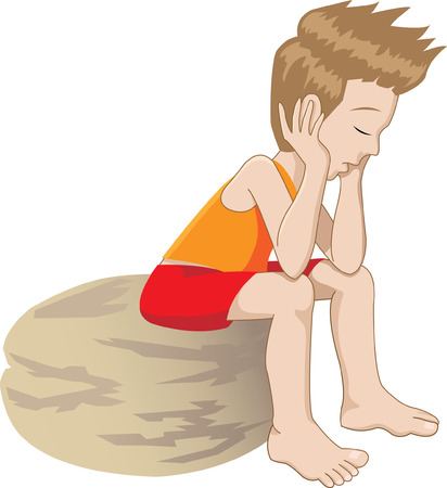 alone and sad: Caricatura de un ni�o solitario y aburrido pensar