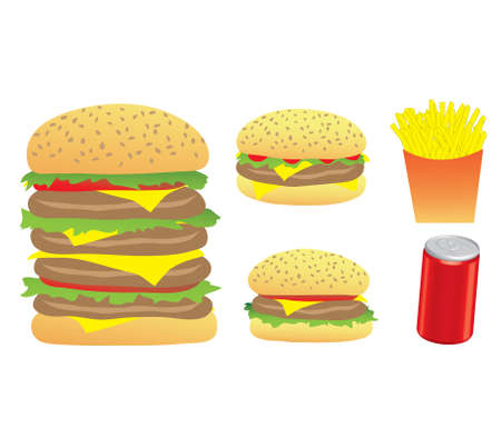 starving: An Illustration of Burgers, Chips and a 3d Can isolated on a white background