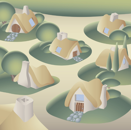 village in the forest Vector